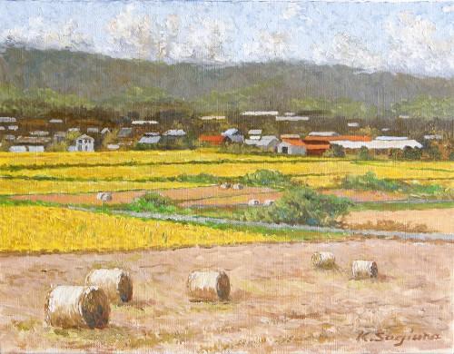刈り入れ時の田園風景
