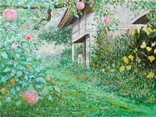 リンゴと納屋のある風景