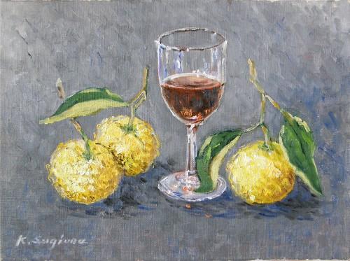 柚子とワイングラス