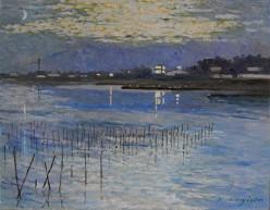 真冬の夜明けの海