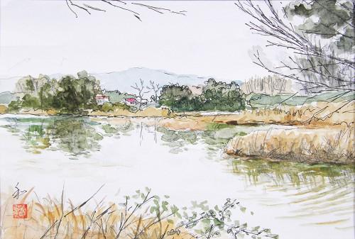 吉田城の畔
