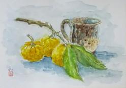 柚子とコーヒーカップ
