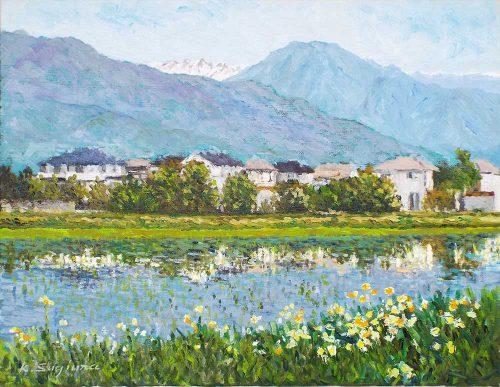 有明山を望む田園風景