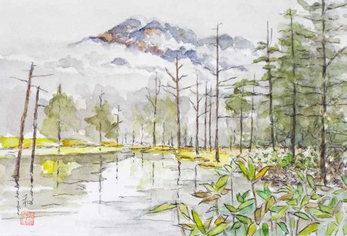 雨上がりの岳沢温泉