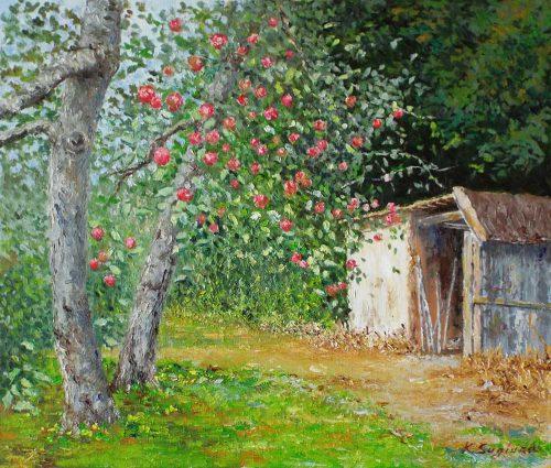 納屋のあるリンゴ園