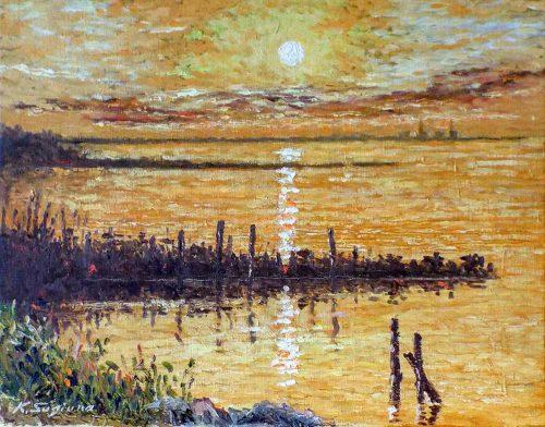 渥美湾に陽が沈む