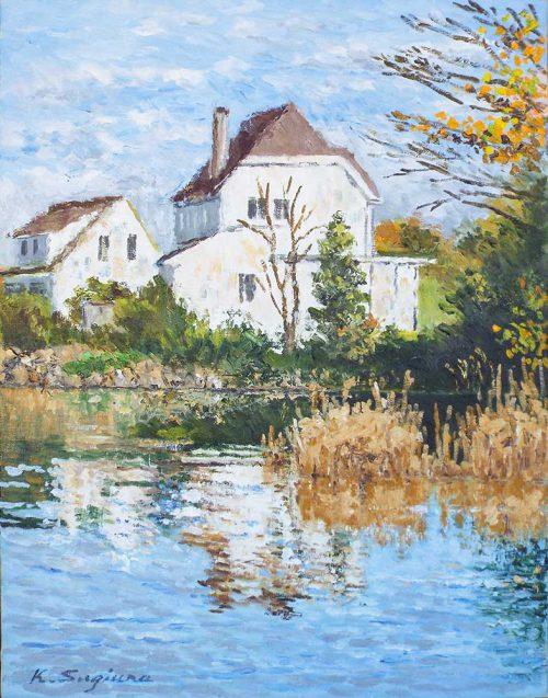 白い別荘のある湖畔