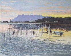 夜明けの海苔漁場